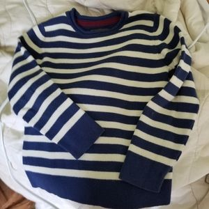 100% cotton small cropped blue and white sweater
